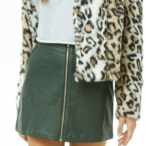 Forever 21 Faux Leather Zip-Front Mini Skirt
